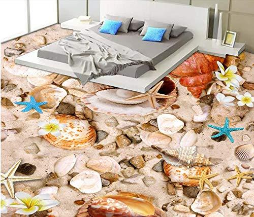 Roebin 3D Wandbild Tapete Restaurant Bodenbelag Strandmuscheln Boden Vnyl Bodenfliesen Malerei Wand-Aufkleber Wanddekoration 350Cmx250Cm