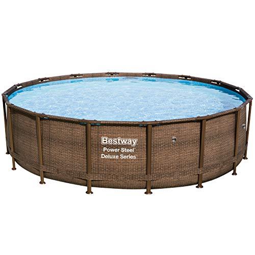 Bestway Power Steel Deluxe Series Frame-Pool, 488 x 488 x 122 cm, rund, Rattan braun, 19.480 Liter, ohne Pumpe und Zubehör, Ersatzteil, Ersatzpool
