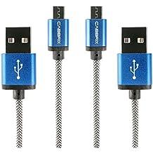 Cable Micro USB Carga Rápida / 1,5m [2-Unidades-Pack] CABBRIX® 2.4A USB Micro Cable para cargar Trenzado a tejido Sin Enredos - Cargador Micro USB Sincro y carga usb para dispositivos Android,Samsung Galaxy,Kindle,TCL,Sony,Nexus,Motorola y más – Azul