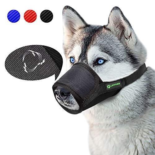 ILEPARK Beehive Maulkorb Mesh Einstellbar Nylon für meistens Hunde vom Beisen, Bellen und Kauen abzuhalten (L,Schwarz)