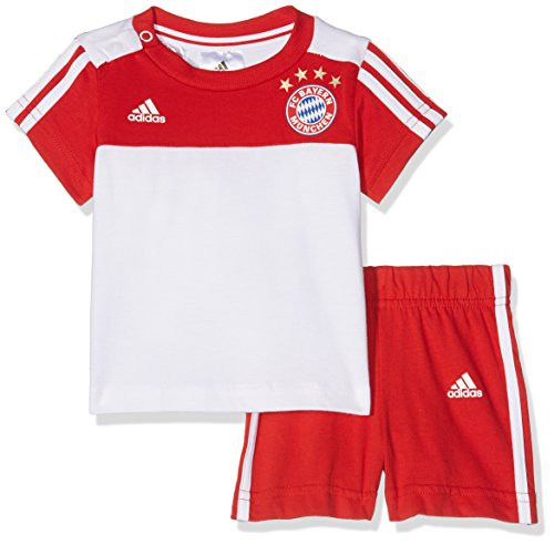 adidas Kinder FC Bayern 3-Stripes Summer Trikot-Set, Fcb True Red/White, 74