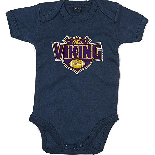 Shirt Happenz True Viking Premium Babybody American Football Super Bowl NFL Mädchen und Jungen Kurzarmbody, Farbe:Blau (Nautical Navy BZ10);Größe:0-3 Monate