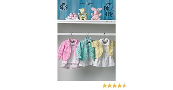 e0b02fe7e4bc King Cole Baby Cardigans 4 Ply   DK Knitting Pattern 2980  Amazon.co ...