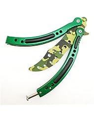 Acero inoxidable CS Go mariposa Balisong Práctica Entrenador exercice cuchillo BALISONG mariposa Formación Cuchillo con vaina