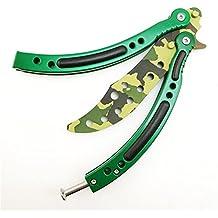 CS GO CSGO Cuchillo mariposa para entrenamiento, plegable, curvado, de acero inoxidable con agujeros CS/HDD14(camuflaje verde)