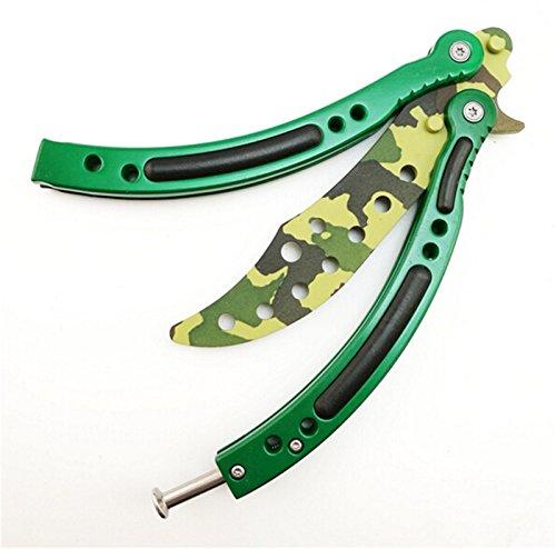 CS Go Csgo balisong couteau papillon Practise d'entraînement pliable Trainer incurvé en acier inoxydable Flip Trick Outil avec trous CS/HDD14(Camouflage vert)