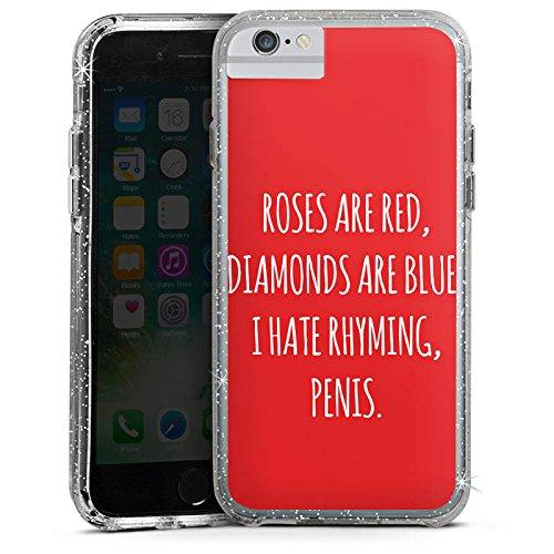Apple iPhone 7 Plus Bumper Hülle Bumper Case Glitzer Hülle Rosen Roses Diamant Bumper Case Glitzer silber