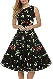 iHAIPI - Damen 50s Retro vintage Bubble Skirt Rockabilly Swing Evening Kleid (05. EU 50 (Herstellergröße:XXL), 09. Schwarze Kirsche)
