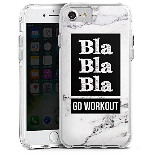 Apple iPhone 7 Bumper Hülle Bumper Case Glitzer Hülle Workout Fitness Phrase Bumper Case transparent