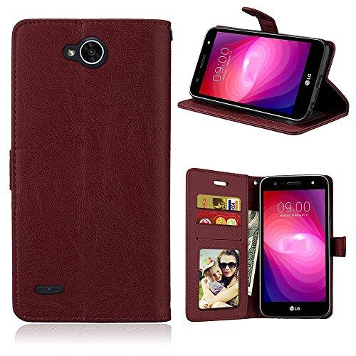 Laybomo Schuzhülle LG X power2 Hülle Ledertasche Weiches Gummi Silikon TPU Haut Beutel Schützend Stehen Bilderrahmen Brieftasche Schale Tasche Handyhülle für LG X power2 (Braun)