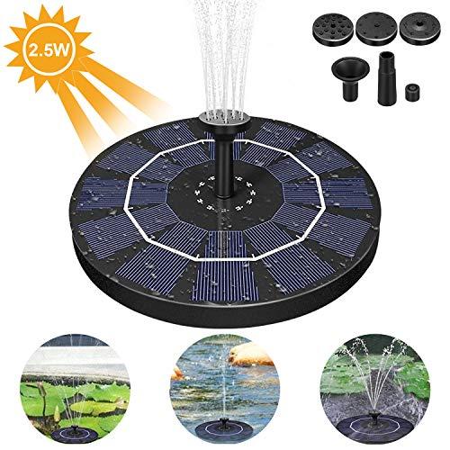 Pompa solare per fontana, 2.5w fontana solare da giardino pompa per fontana energia solare, pompa laghetto solare con 4 ugelli, pompa fontane giardino per stagno, piscina, garden, fish tank