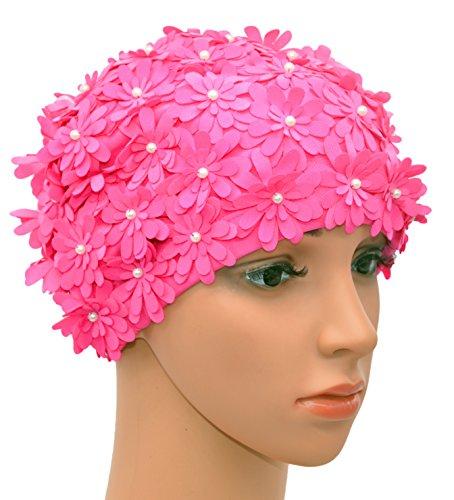 Medifier Swim Cap pétalos de Flores de múltiples Capas Retro Estilo Gorros de baño para Mujeres Color Rosa