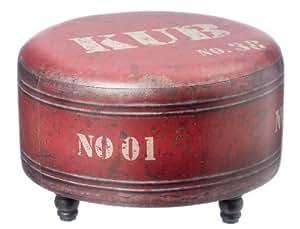 INSOLITE TABOURET «industrie» EN ROUGE ROUILLE 37x60cm COMME UN baril de pétrole. L'eye-catcher!