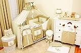 Lux4Kids Kinderbettausstattung Bett Set 135x100 Nestchen Wickelauflage Himmel & Stange Mobile Kopfkissen Spannbettlacken 07 Mond Ecru & Braun