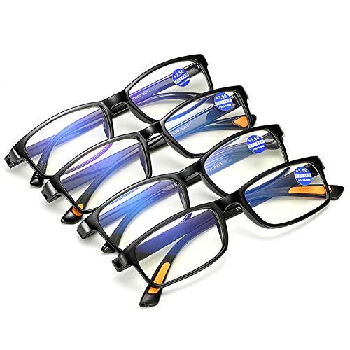 eine lesebrille 4er - packung männer und frauen tr90 unzerbrechlich ultraleicht - leser mit blauem licht blockieren linse size +2.5 (Schwarz)
