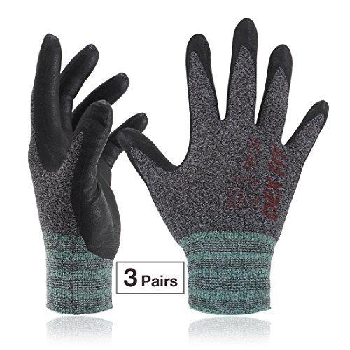DEX FIT Arbeitshandschuhe, 3D Comfort Power Grip, dünn dehnbar fit NylonSpandex, maschinenwaschbar Mittel FN330 Schwarz Grau 3PR (Non-slip-tool-box)