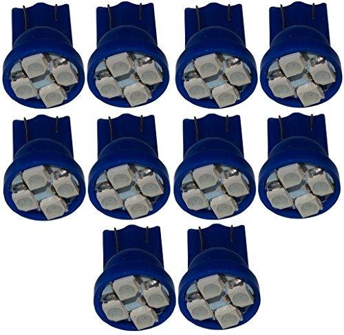 AERZETIX: 10x Ampoule T10 W5W 12V 4LED SMD Bleu veilleuses éclairage intérieur Plaque d'immatriculation seuils de Porte plafonnier Pieds Lecteur de Carte Coffre Compartiment Moteur