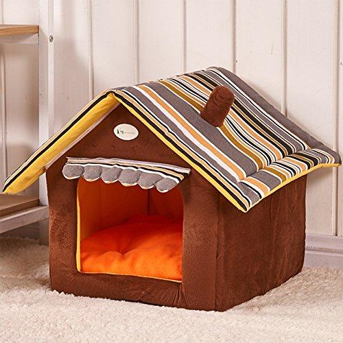 NBKMC Hundehütte Katzenhöhle Hundehöhle Hundebett Katzenbett Hundehaus Haustier Zwinger Luxus High-End Welpen Bett Warm Zimmer 2-in-1 Haustier Haus und Sofa mit einem abnehmbaren Kissen waschbar (M, Braun) (Haustier Haus Isolierung)