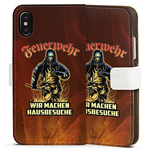 Apple iPhone SE Stand Up Hülle Case Cover mit Standfunktion Feuerwehrmann Spruch Feuerwehr Sideflip Tasche weiß