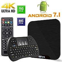TV BOX Android 7.1 - VIDEN W1 Smart TV Box Dernière Amlogic Quad-Core, 1Go RAM & 8Go ROM, 4K UHD H.265, USB, HDMI, WIFI Lecteur Multimédia + Mini Clavier Combo
