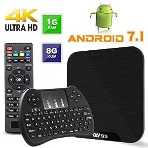 Android TV Box - VIDEN W1 Newest Android 7.1 Smart TV Boxsets, Amlogic Quad-Core, 1GB RAM & 8GB ROM, 4K Ultra HD, WIFI Media Player + Mini Wireless Keyboard