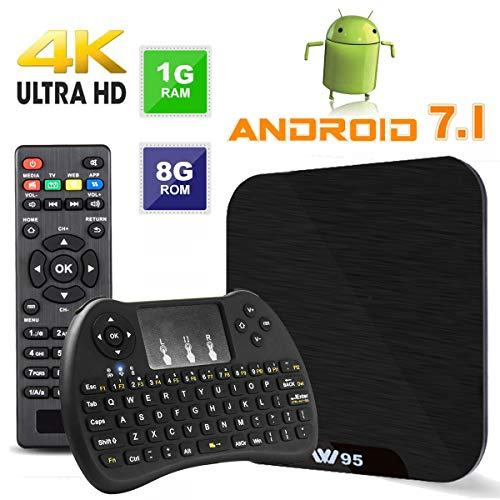 TV Box Android 7.1 - VIDEN W1 Smart TV Box neuesten Amlogic S905X Quad-Core, 1 GB RAM & 8 GB ROM, 4 K UHD H.265, USB, HDMI, WiFi Media Player, Mini-Tastatur kabellos [Verbesserte Version] - Neueste Tv