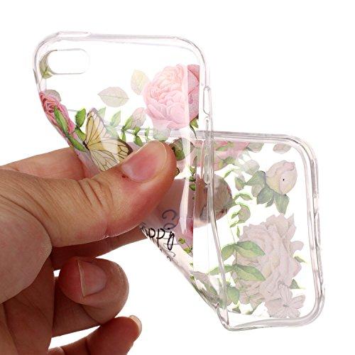 iPhone 5C Hülle,SainCat Kreativer Cartoon Federn Blumen Muster TPU Schutz Handy Hülle Handyhülle Transparent Ultra dünne Silikon Schutzhülle Durchsichtig Hadytasche Stoßdämpfend TPU Gel Case Bumper We Grüne Blattrose