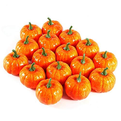 Zerodis Künstliche Simulation Mini Kürbis Frucht Gefälscht Lebensecht Halloween Haus Garten Dekor 16Pcs (Handwerk Eimer Halloween)