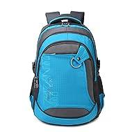 Wewod imperméable hommes femmes cartable sac à dos avec compartiment pour ordinateur portable 15-16 pouces pour 33x46.5x14cm (LxHxP) (Bleu)