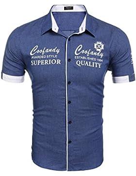 [Sponsorizzato]Wixens Camicie Uomo Casual Stampa a Maniche Corte in Cotone Taglie S-XXL