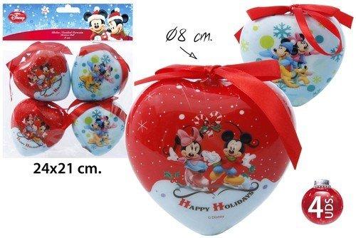 Disney Mickey & Minnie Mouse Herz Weihnachtskugeln 4 Tlg. Weihnachtsbaumschmuck Ø8cm