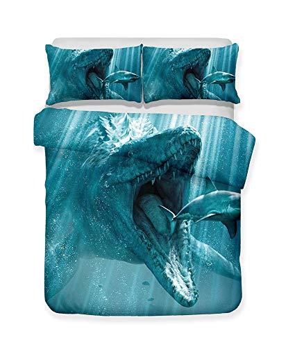 CHAOSE Bettwäsche Set,Weich Fortgeschrittenes Material Polyester-Baumwolle Hai, Kinderliebe,3-teilig (1 Bettbezug + 2 Kissenbezüge 50x75) (King Size(220x240cm),Dinosaurier, der Haifisch isst) -