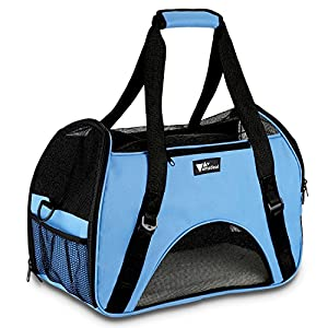 Amzdeal Portable Soft Pet Crate Oxford Pet Carrier Lightweight Pet Travel Fabric Bag for Cat and Dog with Plush Mat(Blue)