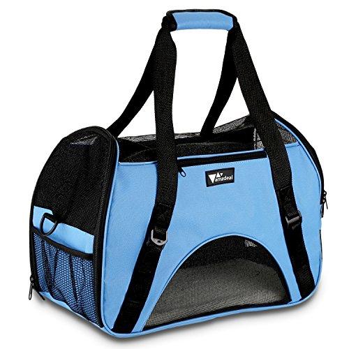 Amzdeal Hundetragetasche Katzentragetasche, Tragetasche Flugtasche Transporttasche Reisetasche für Hund oder Katze, Himmel blau