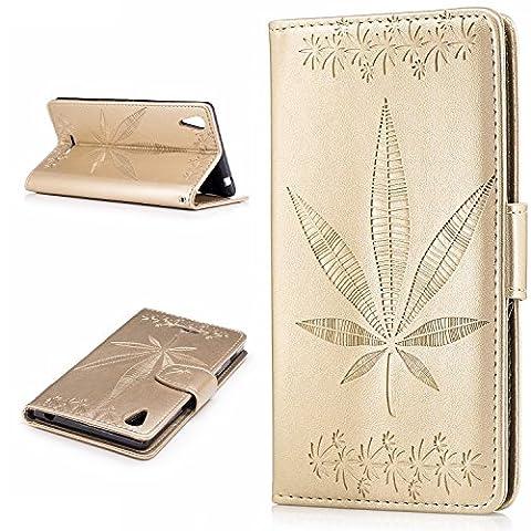 Lonchee Sony Xperia T3 Wallet Tasche Brieftasche Schutzhülle , Ahornblatt