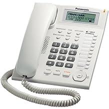 Panasonic KX-TS880EXW - Teléfono fijo (control de volumen, identificador de llamadas, pantalla LCD), blanco