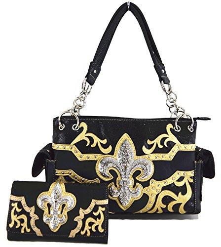 Blancho Bettwäsche Womens [Branchen] PU-Leder-Tasche Set Elegante Brieftasche Hanbag Comobo Fashion Bag Schwarz - Womens Designer-bettwäsche