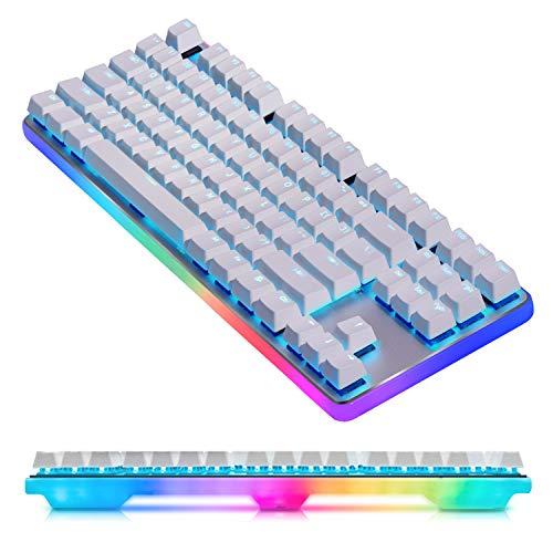 360° RGB Hintergrundbeleuchtung Mechanische Tastatur, Cherry MX Silence Red Aluminium Panel Gaming Tastatur - Linear & Leise- für PC & Mac Spieler und Schreibkraft (QWERTY Layout) -