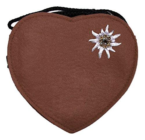 Preisvergleich Produktbild Herz Trachtentasche mit Edelweiß Braun