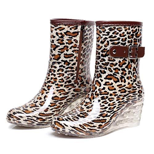 Riou Gummistiefel Damen Halbhoch Outdoor Wasserdicht rutschfest Wedge Keilabsatz Mode Casual Mode Elegante Casual Regenstiefel Regenschuhe Rain Boots