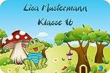 Namensetiketten Adressaufkleber Schuletiketten für Kinder Set mit Wunschtext Motiv Frosch Julius (31-teilig)
