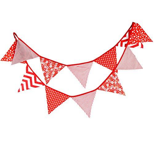 Demarkt 3.2M Bunting Colgantes de No tejida Largo Banderín Florales Banderas de Decoración de Su Casa(Rojo)