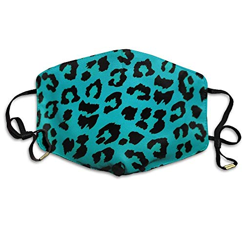 Daawqee Staubschutzmasken, Green Leopard Print Animal Printed Mask Neutral Mask for Men and Women Polyester Dust-Proof Breathable Mask
