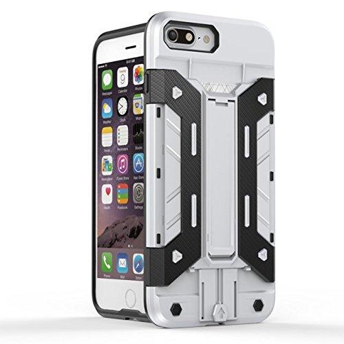 iPhone 7 Plus hüll,Lantier Multifunktions Rüstung Design Slim Fit Anti Drop leichten Multilayer Combo Defender Schutzhülle mit Kickstand und Kartenfach für iPhone 7 Plus 5,5 Zoll Rot+Gelb Cool Armor White