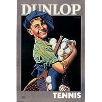 Vintage DUNLOP racchette e palle per Tennis da c1920 Cartolina illustrata, formato A3, 250 g/mq, riproduzione - Slam Racchette