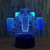 wangZJ Luci di notte 3D per i bambini Bambini Lampada da notte Giocattoli per ragazzo/Illuminazione a Led / 7 / giocattoli Regali Regalo /F1 Racing Car