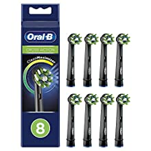 Oral-B CrossAction Replacement Heads for Electric Toothbrush Black Edition with CleanMaximiser Technology, Pack of 8