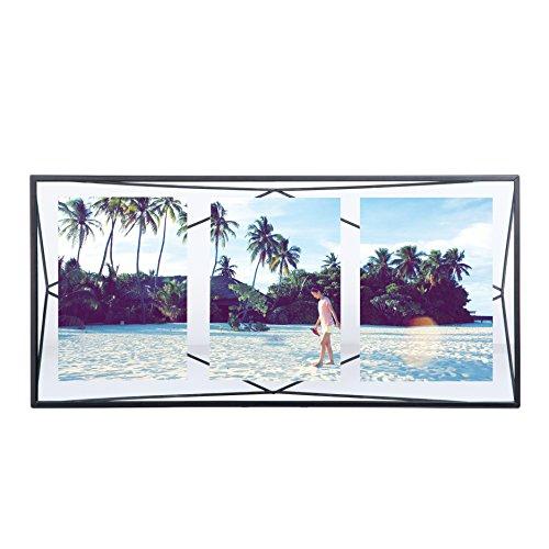 Umbra Prisma Bilderrahmen Collage 13 x 18 cm – Wand- und Tisch Multi-Fotorahmen für 3 Bilder, Fotos, Kunstdrucke, Illustrationen, Graphiken und Mehr, Metall / Glas, Schwarz (Ausgefallene Bilderrahmen)