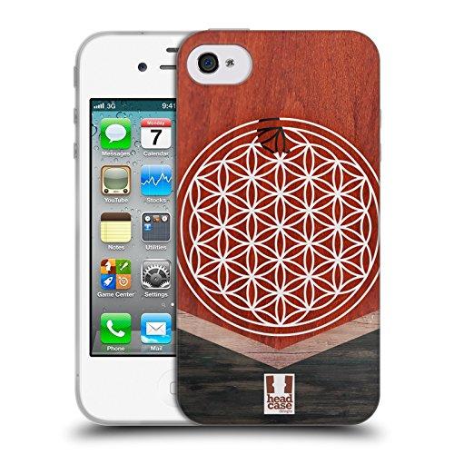 Head Case Designs Blumen Des Lebens Geometrische Holz Modelle Soft Gel Hülle für Apple iPhone 4 / iPhone 4S (Leben Case Für Iphone 4s)