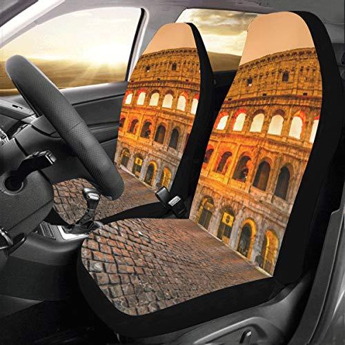 Coprisedili per auto Set completo Famoso Colosseo a Roma Italia Universal Fit Auto Coprisedili per auto Protezione per camion Auto Suv Veicoli Donne Lady (2 anteriori) Copertura per auto est